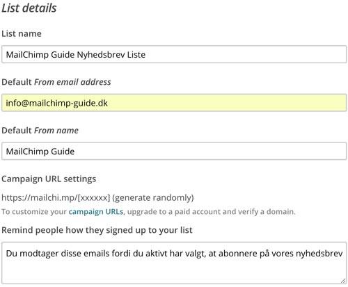 MailChimp Liste - Udfyld informationer