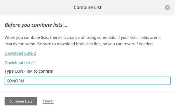 Sammenflet dine lister - Confirm