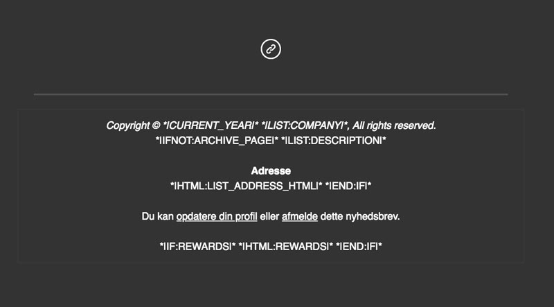 Rediger MailChimp footeren - Dansk