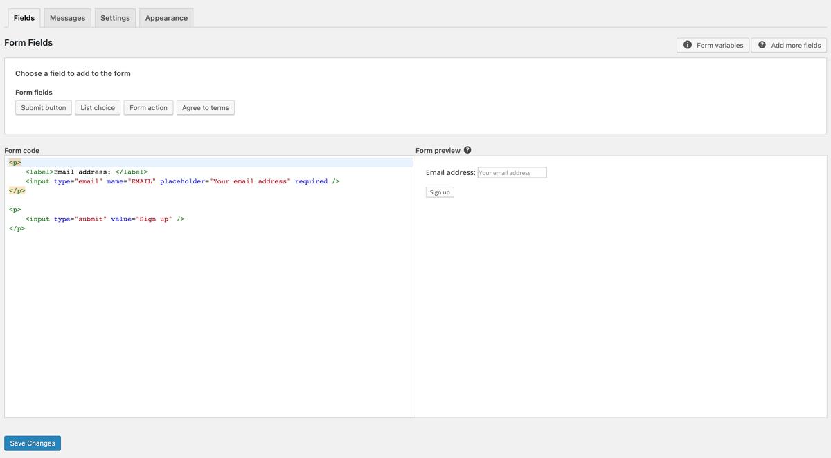 Implementer tilmeldingsformular på din hjemmeside - Form